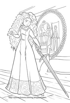 disney movies coloring pages | BLACK AND WHITE COLORING PICTIURE OF MERIDA FROM BRAVE THE MOVIE