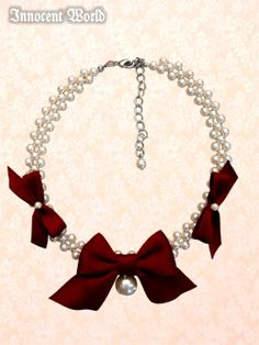 3 Ribbon Pearl Necklace ( 1229303つリボンパールネックレス ) By Innocent World in Wine http://lolibrary.org/node/12802