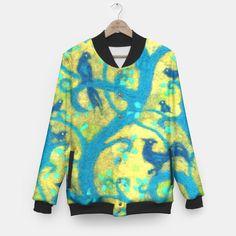 """Paradise garden"" baseball jacket by ClipsoCallipso / Julia Khoroshikh on Liveheroes #fiberart #print #birds #trees #yellow #blue #jacket"