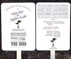 Beach Wedding Program Fan Wedding Program by FossilLetterpress