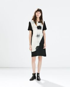 ZARA - WOMAN - TWO-TONE PRINTED DRESS