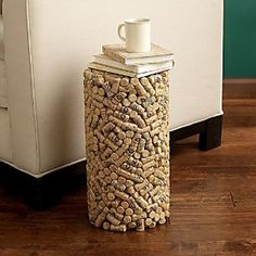 How about constructing a striking side table out of the Sutter Home wine corks you've collected?