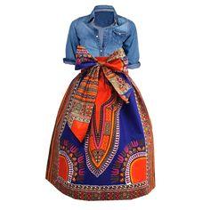 Naya African Print Dashiki Midi Skirt with Sash (Blue/Orange)