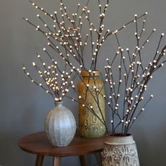 Willow Lighted Branches Beautiful In Large Tall Gl Vases On Wooden Floor