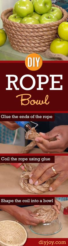 DIY rope bowl. Easy do it yourself and cost saving way to make a rope bowl using just jute rope, glass bowl and hot glue. (Afflink).