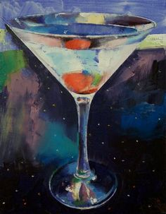 """Bombay Sapphire Martini"" by Michael Creese // Original oil on canvas painting by American artist Michael Creese. // Imagekind.com -- Buy stunning, museum-quality fine art prints, framed prints, and canvas prints directly from independent working artists and photographers."