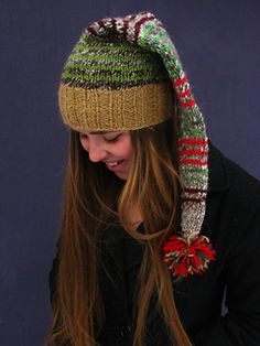 Sarah loves Christmas, so this hat is for her ♥. This pattern calls for three weights of yarn, all scraps or part skeins. The brim is knit in Yarn A, a worsted or aran weight yarn. The body of the hat is knit in Yarn B, a bulky weight yarn, and in Yarn C, scraps of fingering or sock weight yarn, with Yarns A and B alternating (striping) every 2 rounds. Check your gauge. The brim is very stretchy and will fit many a head size, youth to adult.