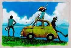 Lupin The Third by artist Massimiliano Frezzato Fiat 500, Studio Ghibli, Diorama, Dylan Dog, Robot Cartoon, Lupin The Third, Animal Ears, Hayao Miyazaki, Manga Comics