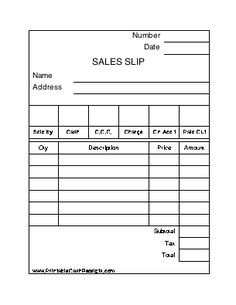 This Printable Sales Slip Is Much Like Those Found In A Sales Pad Or Order  Book