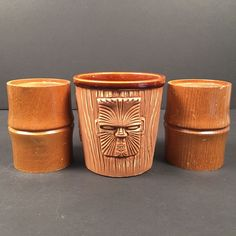3 Three Face Tiki Mug Bucket OMC Japan 2 Bamboo Candle Holder Lot