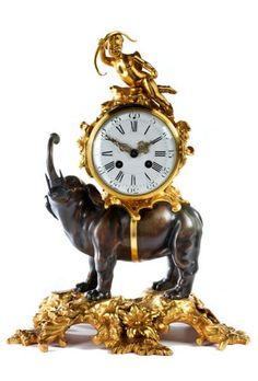 Pendule mit Elefantendekor - Höhe: ca. 41 cm. - Breite: 30 cm. - Tiefe: 19 cm. [...], Beaux-Arts à Hampel Fine Art Auctions | Auction.fr