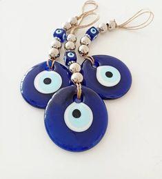Turkish Eye, Great Housewarming Gifts, Evil Eye Charm, Glass Wall Art, Eye Art, Round Beads, Etsy Shop, Witch, Blue
