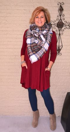 50 is not old date night outfit swing dress blanket scarf leggings booties fashion over 40 for the everyday woman Fashion For Women Over 40, 50 Fashion, Fall Fashion Trends, Look Fashion, Women's Fashion Dresses, Plus Size Fashion, Autumn Fashion, Fashion Tips, Fashion Clothes