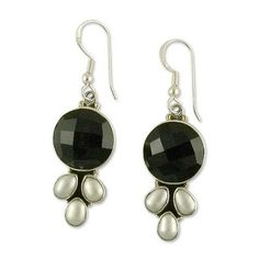 NOVICA Sterling Silver Pearl and Onyx Earrings from India ($61) ❤ liked on Polyvore featuring jewelry, earrings, dangle, onyx, handcrafted jewelry, sterling silver jewelry, white pearl earrings, pearl earrings and black onyx dangle earrings