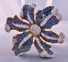 Lovely Vintage BOUCHER Pave Blue Rhinestones Flower Brooch Signed 1950s-60s #Boucher