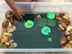 Frog and pond themed small world water play for preschoolers to encourage pretend, creative play.