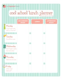 Plan school lunches a week in advance with this Cool School Lunch Planner. #printable