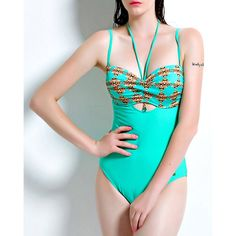 Sexy Spaghetti Strap Printed Cut Out One-Piece Women's Swimwear (TURQUOISE,L) in One-Pieces | DressLily.com