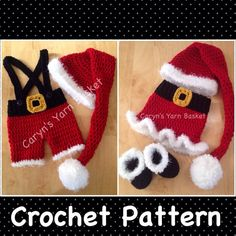 TWO CROCHET PATTERNS 3-6 Month Size Santa's Lil Helper, Mrs Santa Skirt Set, Elf Stocking Hat & Boots Set Photography Prop 1st Christmas