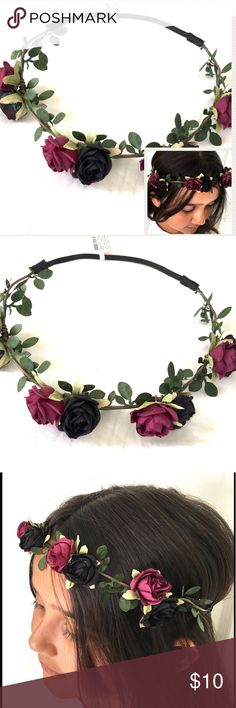 "Floral rose headband hair accessory Floral roses  headband, hair accessory. One Size fits most, adult or child, is approx 21"" around without stretching the band, it has a comfortable stretchy back band. NWT Claire's Accessories Hair Accessories"