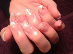 Nail art, soft glitter and confetti