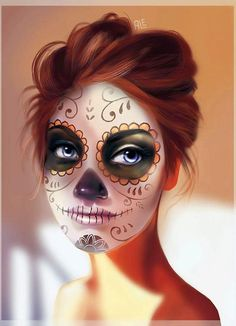 Looking for for ideas for your Halloween make-up? Browse around this website for cool Halloween makeup looks. Sugar Skull Halloween, Cool Halloween Makeup, Sugar Skull Art, Halloween 2018, Scary Halloween, Halloween Costumes, Sugar Skulls, Candy Skulls, Sugar Scull Costume