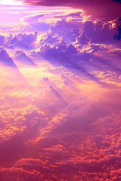 lights, clouds, god, sky, purple, colors, sunset, pink, heavens