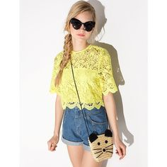 Yellow Lace Top - Scalloped Lace Crop Top - ($69) ❤ liked on Polyvore featuring tops, women tops, yellow lace top, scalloped top, flower print crop top and floral top