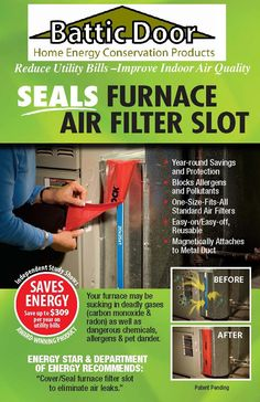 Magnetic Furnace Filter Slot Seal Saves Energy