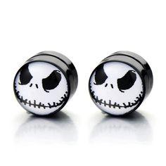 10MM Magnetic Black Circle Alien Stud Earrings for Men Women, Non-Piercing Clip On Fake Ear Plugs Gauges