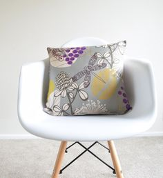 Welcome to SimplySkandi :)  Pattern: Vintage/Chic design in Grey, purple and mustard.  Item: Decorative Cushion Cover (insert not included) Product Dimensions: 18 x 18  Material: Linen Blend  Care: Hand wash in cold water with mild detergent, lay flat to dry  Print on one side only. Base fabric is an off-white color Shipment: We use Royal Mail First Class. Items will be dispatched on the same day as receiving the payment.
