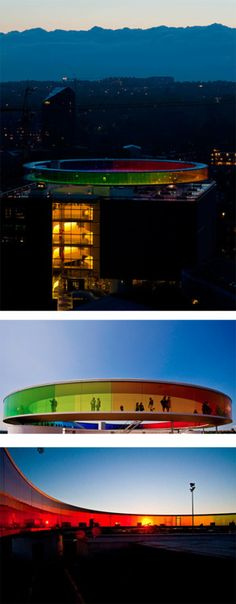 Rainbow Panorama Structure, rooftop of the ARoS Aarhus Kunstmuseum, Århus, Denmark