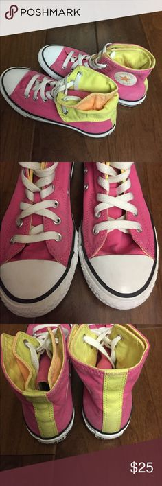 Special edition converse. Pink, orange, yellow 3 Very cute special edition converse. Pink, yellow and orange high tops. Clean and ready to wear. Size 3 kids. EUC. Converse Shoes Sneakers