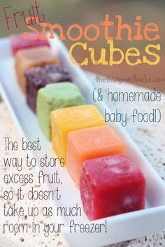 Fruit Ice Cubes Freezing Fruit for Smoothies or Baby Food is part of Frozen fruit smoothie - Making fruit ice cubes for smoothies and homemade baby food is the best way to freeze excess fruit so it doesn't take up excess room in your freezer! Healthy Smoothies, Healthy Drinks, Freezer Smoothies, Healthy Shakes, Green Smoothies, Breakfast Smoothies, Healthy Eats, Healthy Recipes, Bonbon Fruit