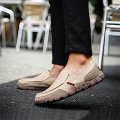 30b8d64c2b2cad Mens Casual Canvas Round Toe Slip on Flat Shoes