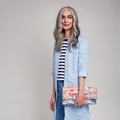 Pam Lucas wearing Liberty for Uniqlo