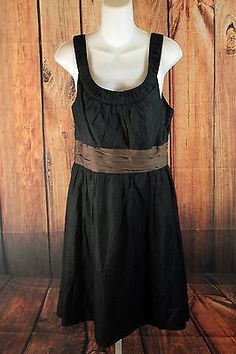 White House Black Market Black Sleeveless Dress Womens Size 10 Empire Waist NEW