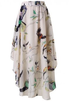 Birds Print Asymmetric Waterfall Skirt