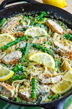 Creamy Lemon Chicken Pasta with Asparagus and Peas