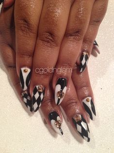 chess anyone??? these are some dope nails. stones chess board print awesomeness. nail porn nail swag obsession