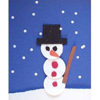 Schwarzes, Rotes, Weißes. oranges + Braunes Bastelpapier   Wattepads  Locher  Schere  Klebstoff     tun:   Für den Schnee: Stück weißes Bastelpapier zerreißen und auf ein Blatt blaues Bastelpapierkleben. Für den Schneemann: drei Wattepads übereinander kleben. aus schwarzem Bastelpapier einen Hut ausSchneiden. Augen, Nase und Knöpfe aus Bastelpapier ausschneiden. weißes Bastelpapier Lochen und als Schneeflocken verwenden
