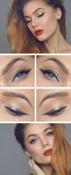 ''Classic Glam'' make-up look. Subtiel grijs met zwart, bruin- en goudtinten op de oogleden en matte dieprode lippen.