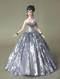fashion doll, silver dress