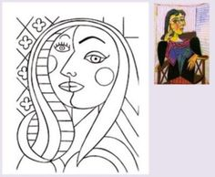 Exercice de coloriage. This site has similar exercises for different artists