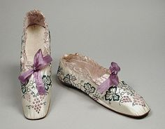 Boudoir Slippers 1849, American, Made of silk and leather