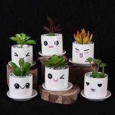 Cute Mini Porcelain Flowerpot Desk Succulent Vase Cylinder Decoration Craft Creative Emoji Pot-in Flower Pots & Planters from Home & Garden on Alie - Decorated Flower Pots, Painted Flower Pots, Painted Pots, Tin Can Crafts, Diy And Crafts, Crafts For Kids, Flor Emoji, Diy Flowers, Flower Vases