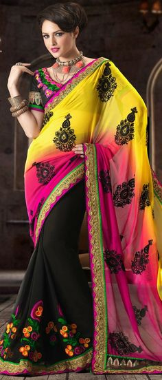 Yellow and Dark Pink and Black Faux Georgette Saree With Blouse