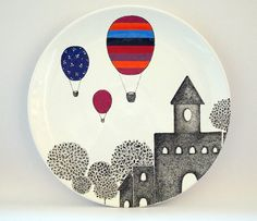 Pottery painting - Artist Julia Dely (Zuppa Atelier) on Etsy – Pottery painting Pottery Painting Designs, Pottery Designs, Paint Designs, Ceramic Plates, Ceramic Pottery, Slab Pottery, Pottery Bowls, Ceramic Painting, Ceramic Art