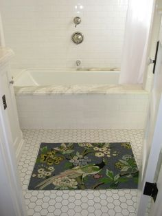 bathroom with great tub/shower for those of us that do not have bathrooms the size of a den