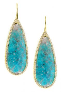 Skyline Brazilian Paraiba tourmaline and pave diamond earrings by Denise James